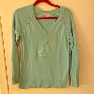 EUC Lilly Pulitzer Sailboat Sweater Light Blue